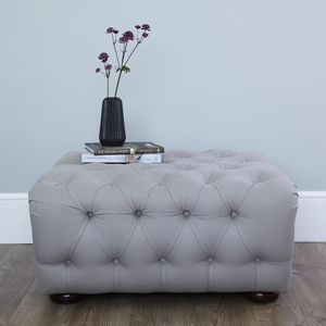Grey Linen Button Back Footstool