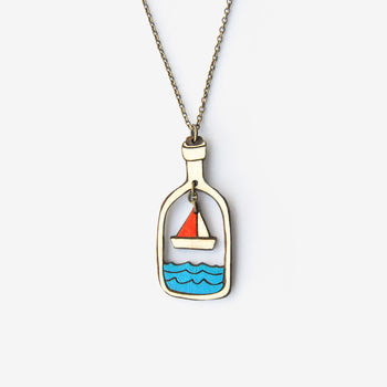 Boat In A Bottle, Seaside Necklace
