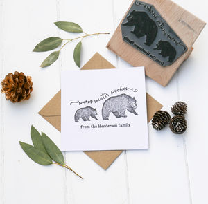 Christmas Card Stamp With Bears - christmas sale