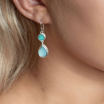 Aquamarine And Apatite Gemstone Ladies Earrings