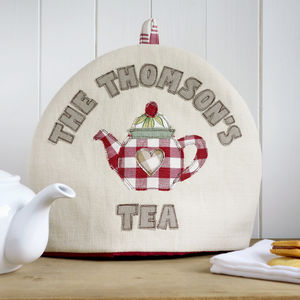 Personalised Family Name Tea Cosy - 70th birthday gifts