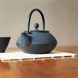 Black Tenshi Cast Iron Teapot Japanese Style - kitchen