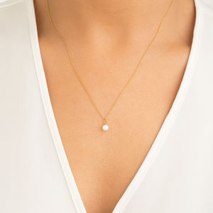 Rose, Silver Or Gold Single Pearl Pendant Necklace - more