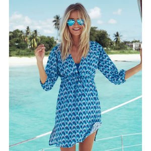 Sardinia Cotton Beach Kaftan Peacock Blue Print - kaftans & cover-ups