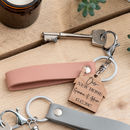 Leather and cherry wood new home keyrings