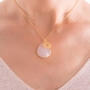 Chakra Charm Rose Quartz Pendant Necklace