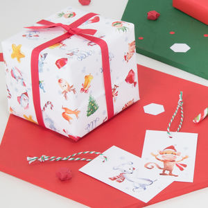 Christmas Characters Wrapping Paper Set - summer sale