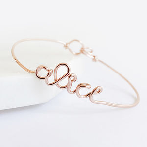 Personalised Name Bangle Bracelet 14k Rose Gold Filled - best gifts for her