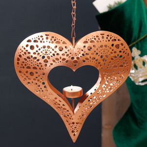 Christmas Candle Copper Heart Shape Hanging Display - kitchen