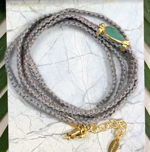 Grey Wrap Bracelet With Chalcedony Gemstone - bracelets & bangles