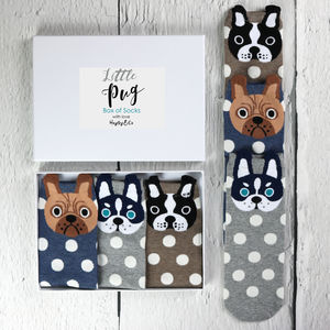 Little Pug Box Of Socks - gifts for her