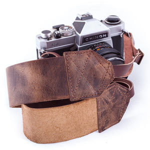 Personalised Vintaged Brown Retro Camera Strap - men's accessories