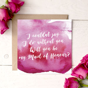 Be My Maid Of Honour Pink Watercolour Invitation Card