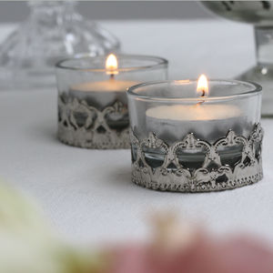 Mini Elegant Glass And Silver Tea Light Holder - candles & home fragrance