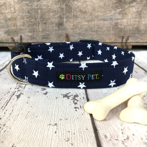 Midnight Star Navy Dog Collar - pet collars