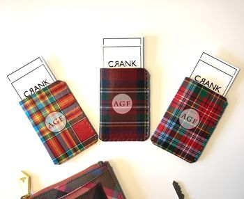 Personalised Initial Tartan Red Card Holder Travel