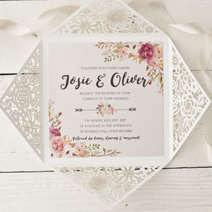 Peony Floral Design Laser Cut Wedding Invitation