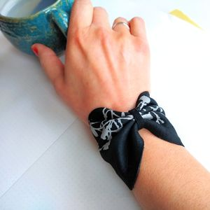 Leather Bow Wrist Cuff Bangle