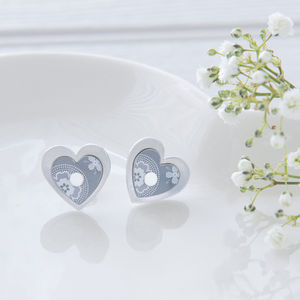 Geometric Print Grey Double Heart Ear Studs - earrings