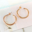 Double Wire Interwoven Rose Gold Hoop Earrings