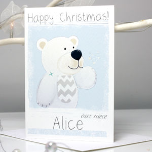 Personalised Arctic Polar Bear Christmas Card - shop by category