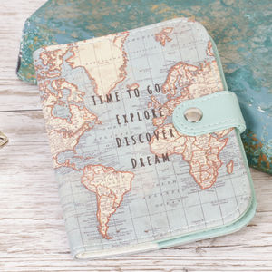 Map Discover And Dream Passport Holder - travel & luggage