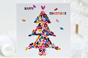 Happy Christmas Butterfly Christmas Tree Card - christmas cards