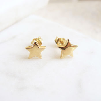 Solid Gold Star Stud Earrings