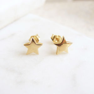 Solid Gold Star Stud Earrings - earrings