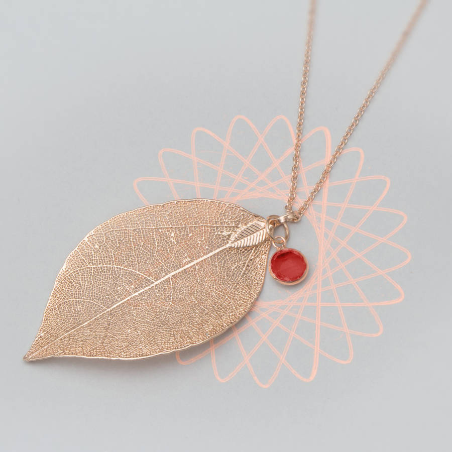 January Leaf And Garnet Personalised Necklace