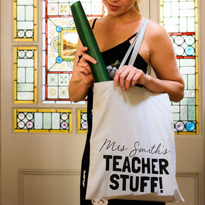 Personalised Teacher Stuff Tote Bag - totes