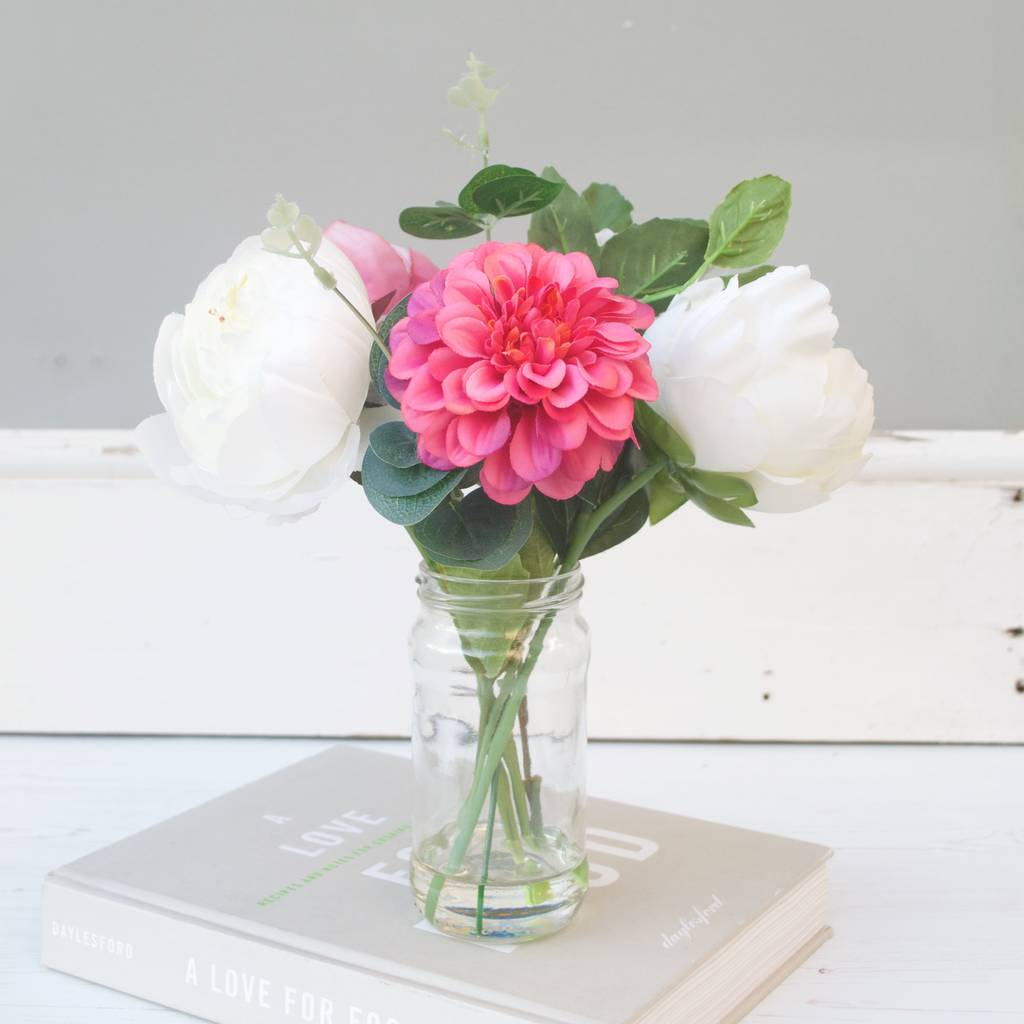 White and pink peony bouquet in vase by abigail bryans designs white and pink peony bouquet in vase reviewsmspy