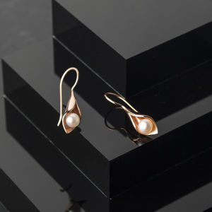 Calla Lily Rose Gold Pearl Short Drops - wedding jewellery