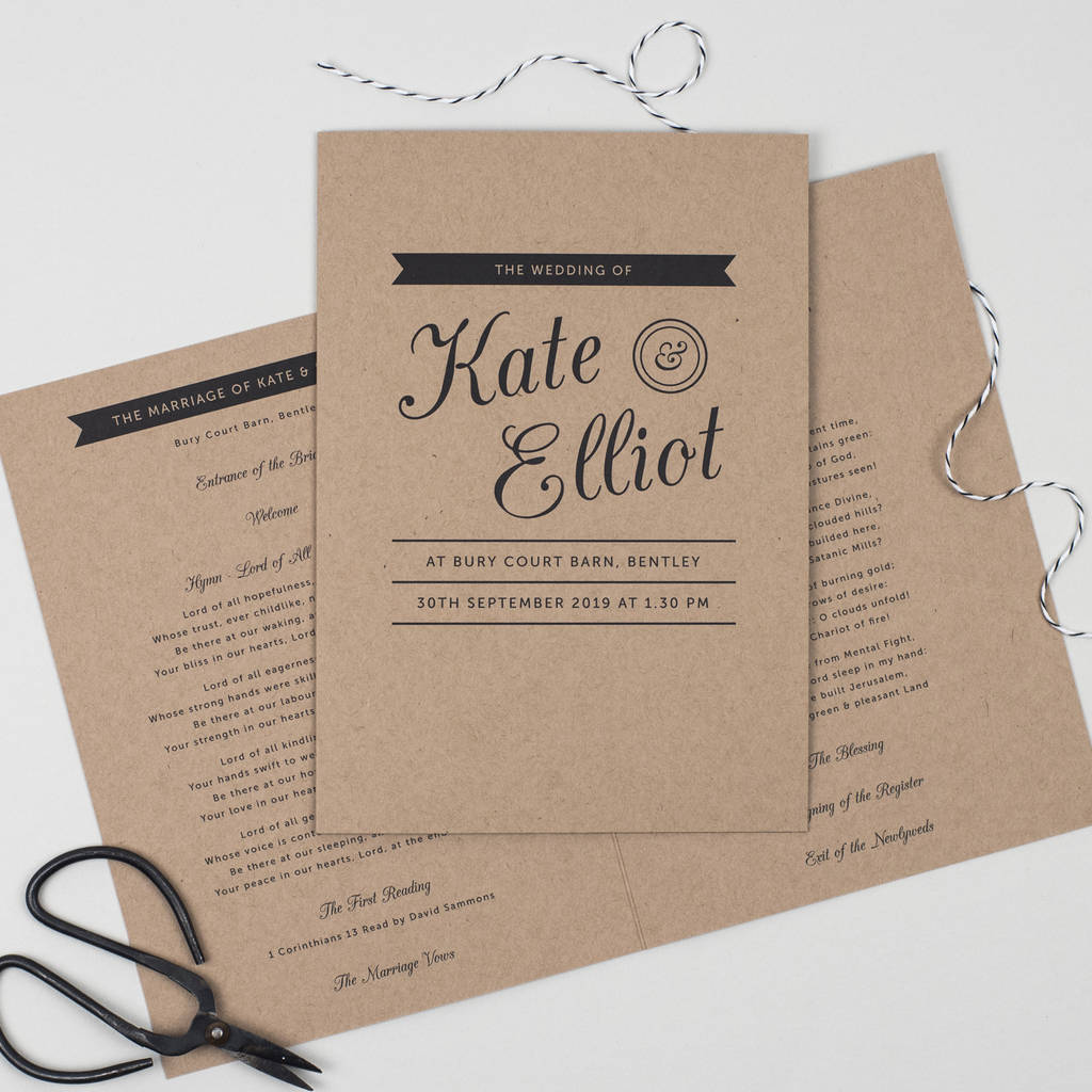 Kraft Stamp Wedding Order Of Service By Pear Paper Co