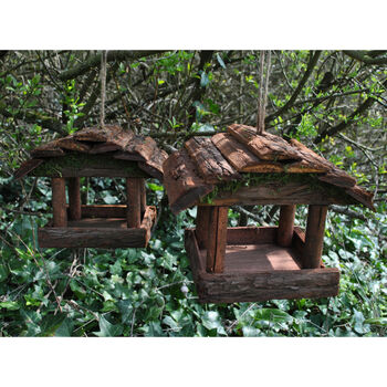 Set Of Two Natural Hanging Wooden Bird Table Feeders