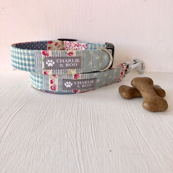 Pink Floral Patchwork Dog Collar An Lead/Leash Set