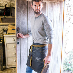Personalised My Name Waxed Denim Waist Apron