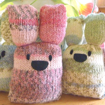 Bunny Knitting Kit in Seagrass and Rose