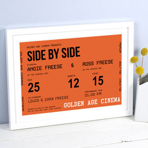 Personalised Cinema Ticket Print - engagement gifts