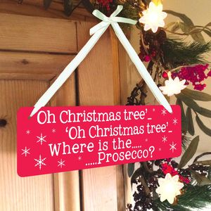 'Oh Christmas Tree' Prosecco Sign - christmas signs & decorative letters