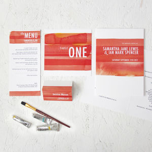 Watercolour Strokes On The Day Wedding Stationery