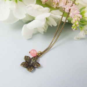 Dainty Antiqued Brass Posey Flower Necklace - necklaces & pendants