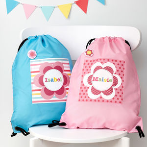 Girls Personalised Flower Waterproof Kit Bag - storage bags