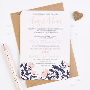 Blush And Navy Floral Evening Invite With Gems