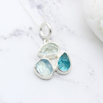 Aquamarine And Apatite Handmade Gemstone Pendant