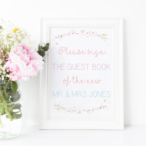 Personalised A3 Guest Book Wedding Print