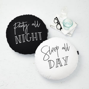 Pair Of Matching Monochrome Cushions Sleep/Day - 21st birthday gifts