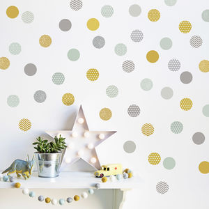 Mustard And Mint Polka Dot Wall Stickers - children's decorative accessories