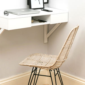 Wicker Chair In Whitewash - office & study