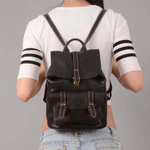 Front Pockets Small Leather Backpack - backpacks
